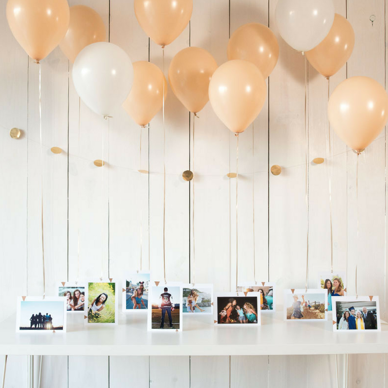 Balloons with photos hanging