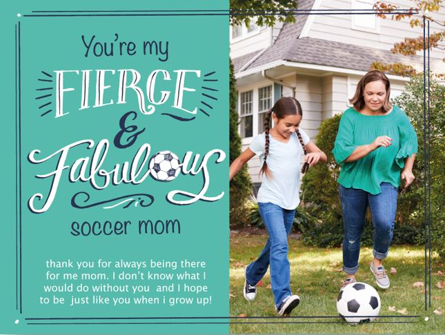 Customizable Mother's Day card for soccer moms