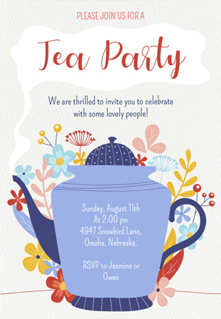 Ideas & Wording for The Perfect Tea Party Invitations | Smilebox